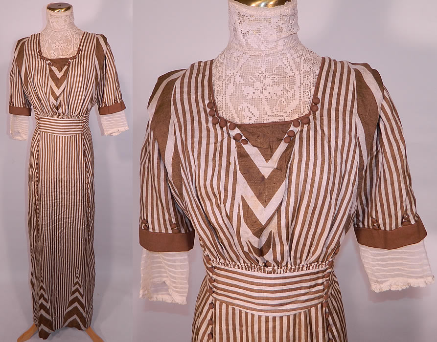 Edwardian Brown & White Cream Silk Striped Lace High Collar Dress Gown. This antique Edwardian era brown and white cream silk striped lace high collar dress gown dates from 1910...