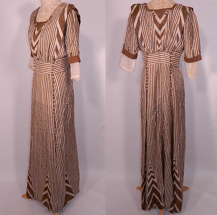 Edwardian Brown & White Cream Silk Striped Lace High Collar Dress Gown. This stunning striped dress has a high  collar, 3/4 length sleeves with pleated white cuffs, a fitted waist, silk covered button trim accents and hook closures on the back.