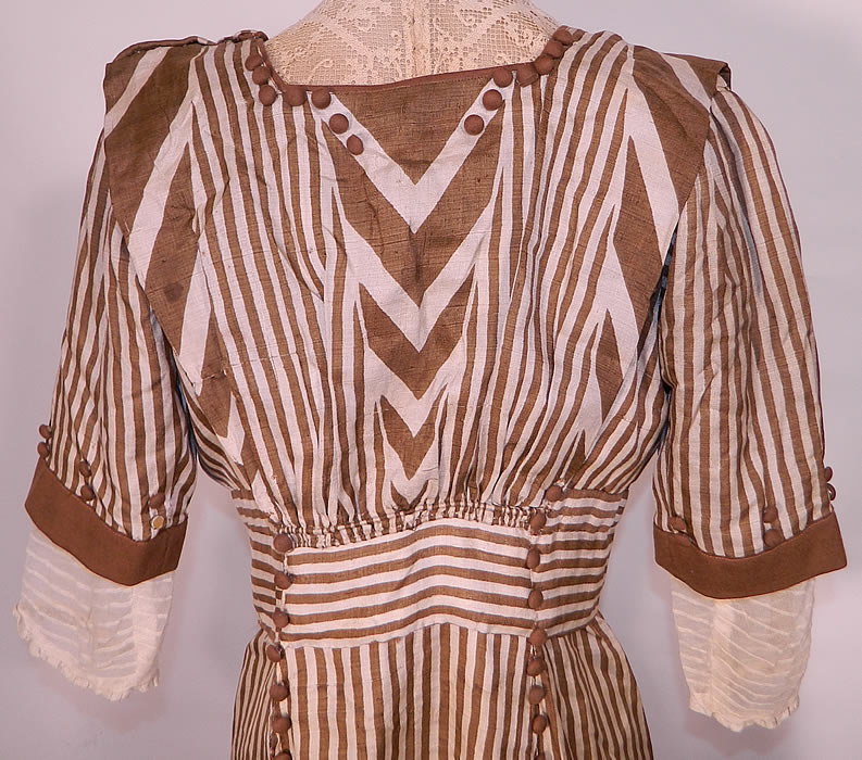 Edwardian Brown & White Cream Silk Striped Lace High Collar Dress Gown.