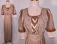 Edwardian Brown & White Cream Silk Striped Lace High Collar Dress Gown