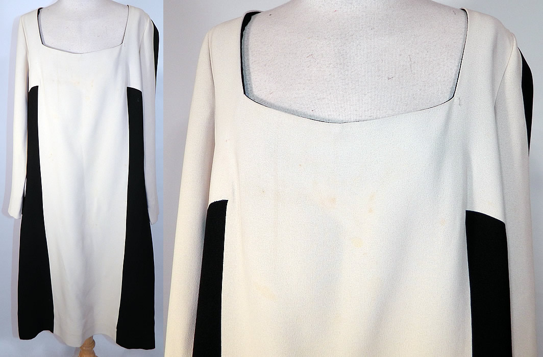 Vintage Mr. Blackwell Design Black & White Mod Color Block Silk Shift Dress. This vintage Mr. Blackwell Design black and white mod color block silk shift dress dates from the 1960s. It is made of a black and white color block mod design silk crepe fabric.