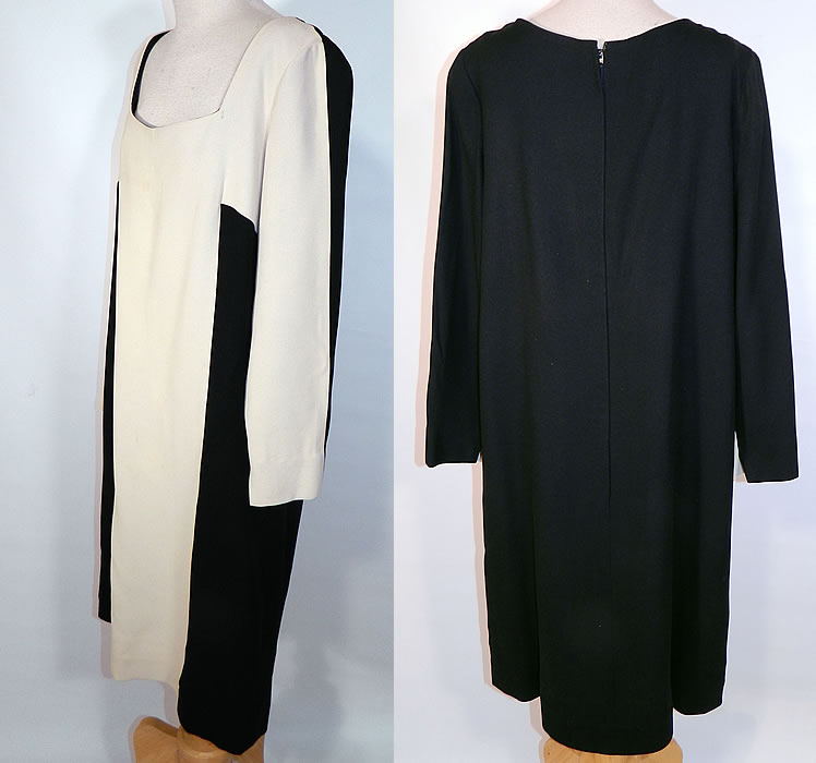 Vintage Mr. Blackwell Design Black & White Mod Color Block Silk Shift Dress. This magnificent mod dress has a loose fitting shift style, with long sleeves, a squared neckline, back zipper closure and is fully lined.