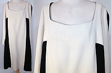 Vintage Mr. Blackwell Design Black & White Mod Color Block Silk Shift Dress.