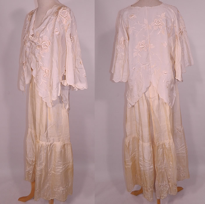 Edwardian Cream Silk  Embroidered Bed Jacket Robe Petticoat Skirt Trousseau. This beautiful bridal two piece wedding trousseau lingerie includes a loose fitting bed jacket robe, with flared wide bat wing sleeves, ribbon ties under the arms and on front for closure, with scalloped trim edging.