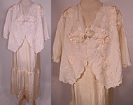 Edwardian Cream Silk  Embroidered Bed Jacket Robe Petticoat Skirt Trousseau
