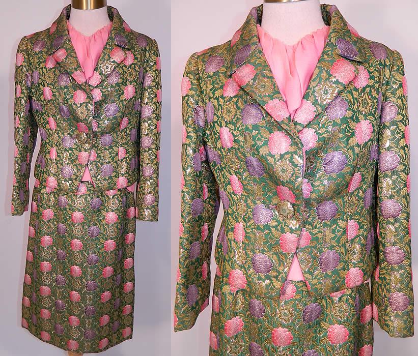 ed14342b2aa Vintage Christian Dior Floral Lame Lamé Suit Jacket Skirt   Pink Silk Blouse