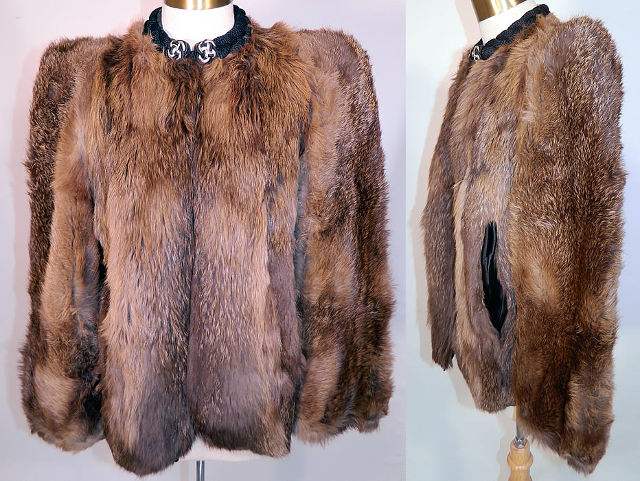 Vintage Muskrat Fur Black Satin Lined Broad Shoulder Winter Coat Jacket. This vintage muskrat fur black satin lined broad shoulder winter coat jacket dates from the 1940s. It is made of a soft supple dense muskrat fur with shades of brown, lighter shades of gray and blonde.