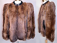 Vintage Muskrat Fur Black Satin Lined Broad Shoulder Winter Coat Jacket