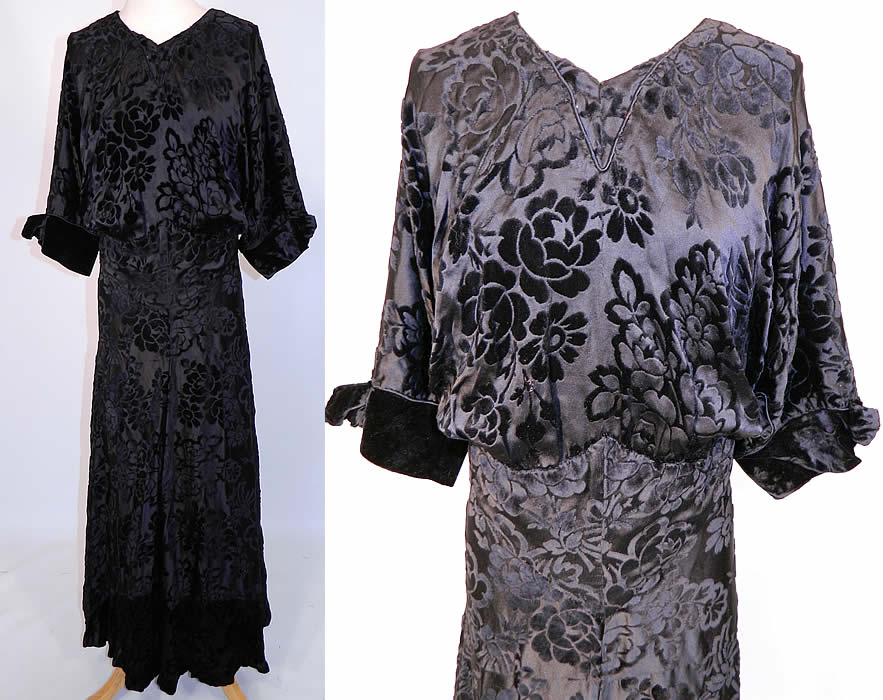 Vintage Black Floral Burnout Voided Velvet Silk Bias Cut Evening Gown Dress. This vintage black floral burnout voided velvet silk bias cut evening gown dress dates from the 1930s. It is made of a black silk voided cut velvet burnout fabric, with a floral rose design pattern.