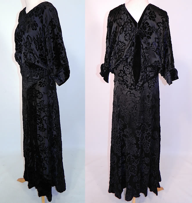 Vintage Black Floral Burnout Voided Velvet Silk Bias Cut Evening Gown Dress. This beautiful bias cut dress long floor length evening gown has black velvet trim on the back, neckline, sleeve cuffs, dolman style sleeves and is fully lined.