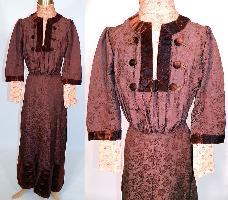 Edwardian Brown Silk Damask Floral Brocade Embroidered Lace High Collar Dress Gown. This antique Edwardian era brown silk damask floral brocade embroidered lace high collar dress gown dates from 1910.