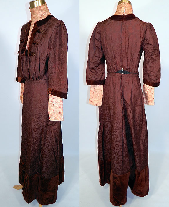 Edwardian Brown Silk Damask Floral Brocade Embroidered Lace High Collar Dress Gown. This beautiful brocade dress has a high collar, cut out neckline, long layered full sleeves, a fitted waist, hook closures down the back and is lined.