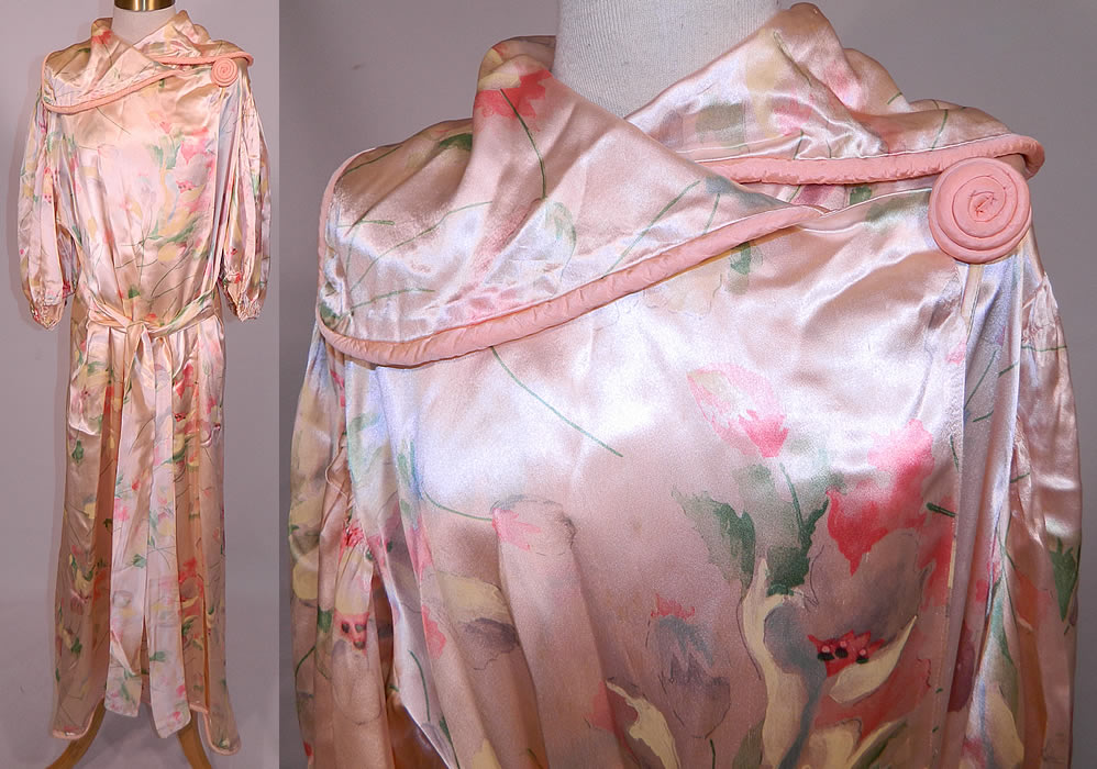 Vintage Pink Satin Tulip Water Color Pastel Print Peignoir Dressing Gown Belted Robe. This vintage pink satin tulip water color pastel print peignoir dressing gown belted robe dates from the 1940s.