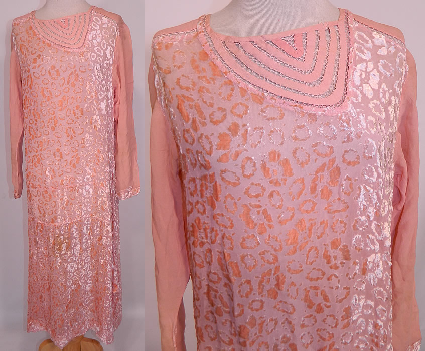 Vintage Art Deco Pink Pastel Silk Burnout Voided Velvet Drop Waist Flapper Dress. This vintage Art Deco pink pastel silk burnout voided velvet drop waist flapper dress dates from the 1920s. It is made of pink pastel silk chiffon burnout voided velvet fabric, with an abstract poppy flower polka dot design.