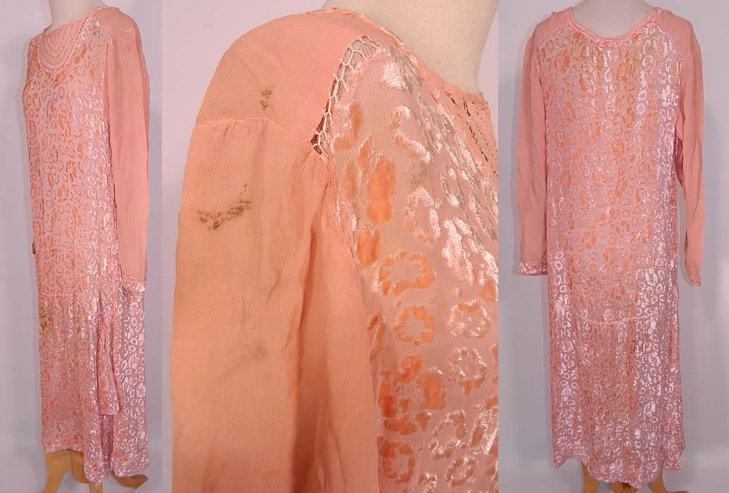 Vintage Art Deco Pink Pastel Silk Burnout Voided Velvet Drop Waist Flapper Dress. It is in good condition, but has not been cleaned, with some small faint stains on the shoulder sleeves and skirt (see close-ups). This is truly a beautiful quality made piece of Art Deco wearable art!