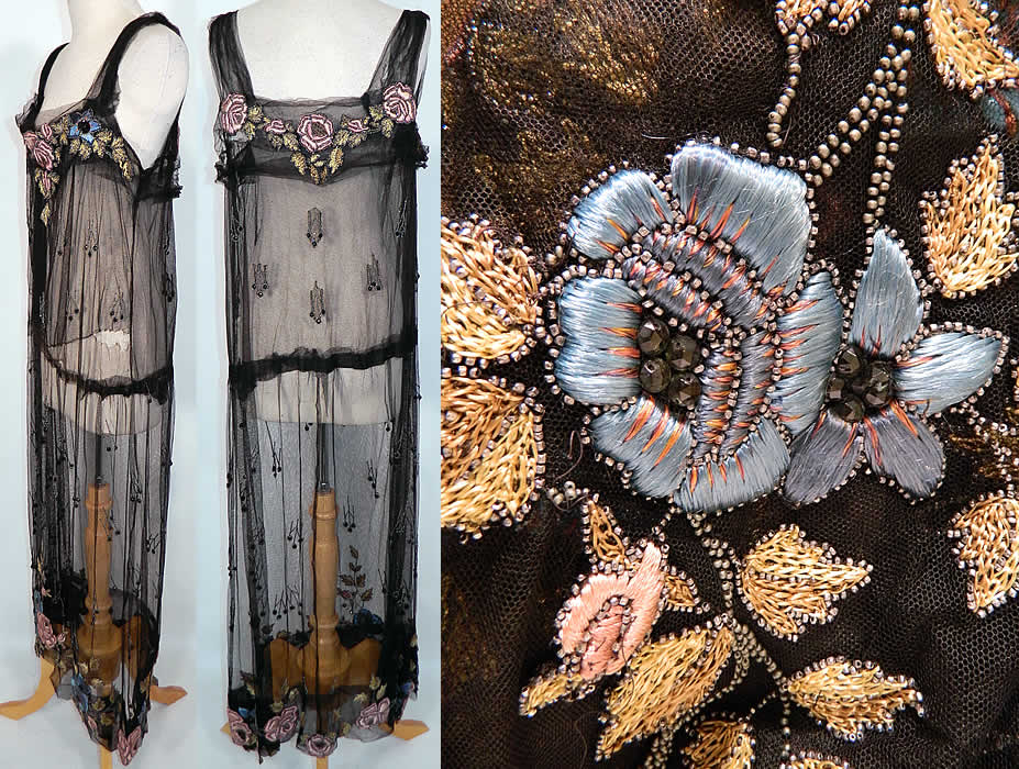 Vintage Black Net Beaded Embroidered Applique Made In
