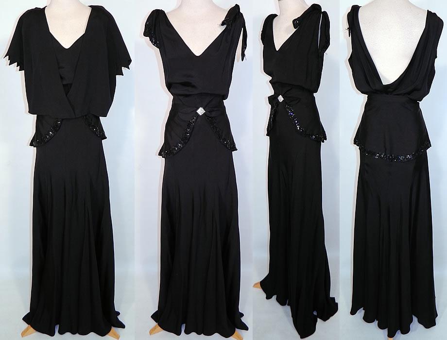 vintage black silk crepe belted peplum skirt bolero jacket b