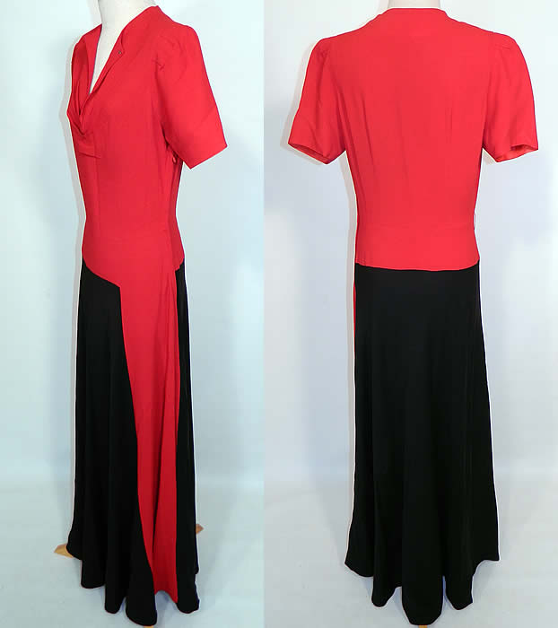Vintage Red & Black Colorblock Silk Crepe Evening Gown Maxi Dress. The dress measures 58 inches long, with 36 inch hips, a 24 inch waist and 36 inch bust. It is in good clean condition, with only a few tiny pin holes in the skirt. This is truly a wonderful piece of wearable art.
