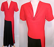 Vintage Red & Black Colorblock Silk Crepe Evening Gown Maxi Dress