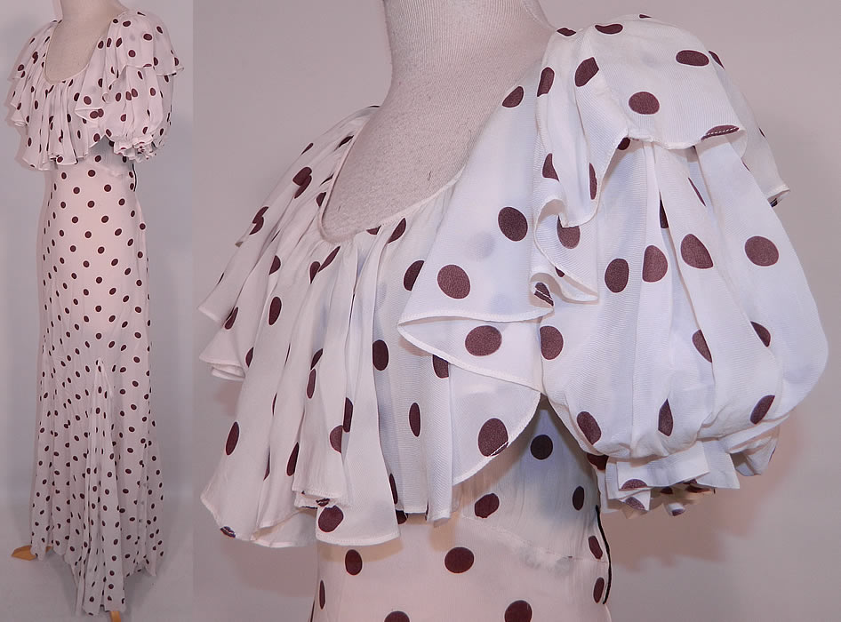 Vintage Brown & White Polka Dot Print Silk  Ruffle Flounce Collar Bias Cut Maxi Dress. This pretty polka dot gown long floor length bias cut dress has a large ruffle flounce shawl collar, short puffy sleeves, full skirt, sheer unlined and has side snap closures.
