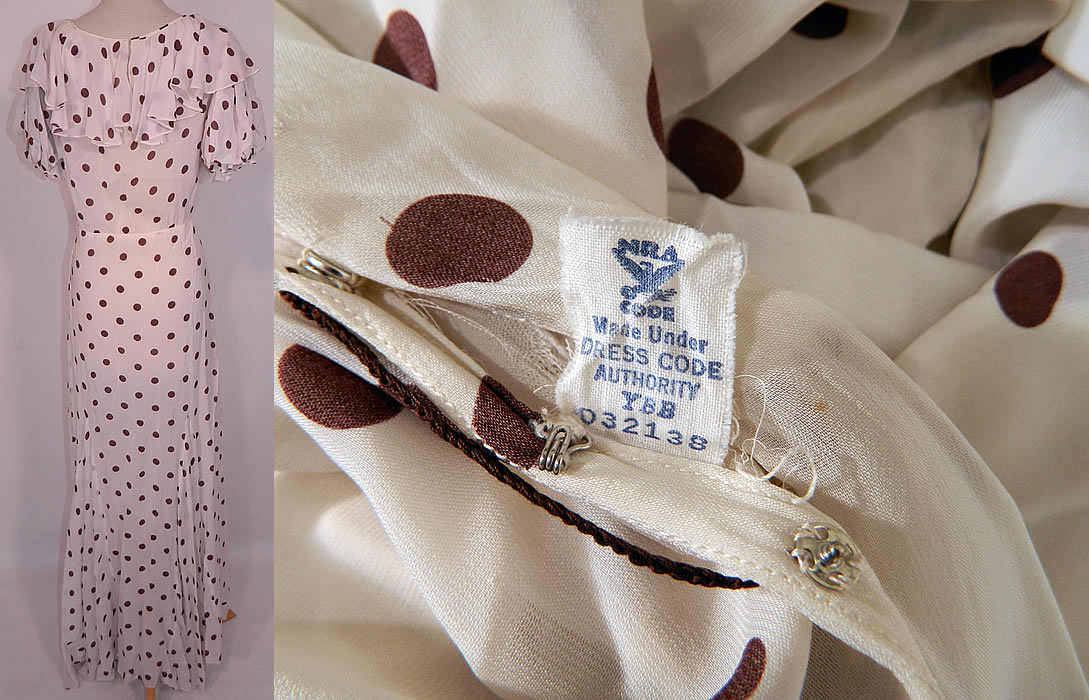 Vintage Brown & White Polka Dot Print Silk  Ruffle Flounce Collar Bias Cut Maxi Dress. There is a NRA Code union label sewn inside. The dress measures 60 inches long, with 36 inch hips, a 28 inch waist and 36 inch bust. It is in good condition, with only a small faint stain on the bottom of the skirt. This is truly a wonderful piece of wearable art.