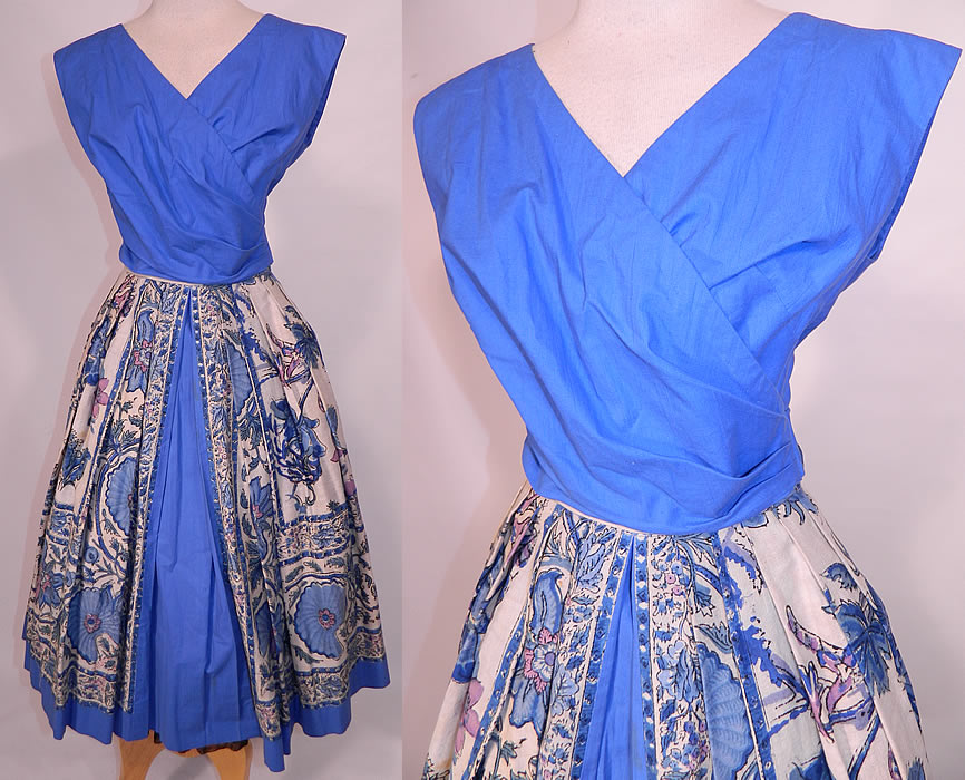 Vintage Tabak of California Sanganer India Hand Block Print Cotton Circle Skirt Dress. This vintage Tabak of California Sanganer India hand block print cotton circle skirt dress dates from the 1950s. It is made of a Sanganer India style of hand block printed cotton muslin fabric with shades of blue color ethnic floral vine leaf print design.