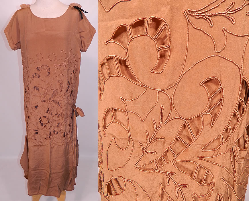 Vintage Beige Silk Soutache Cut Work Lace Drop Waist Shift Dress & Slip. This vintage beige silk soutache cut work lace drop waist shift dress and slip dates from the 1930s. It is made of a light brown French beige color silk fabric, with a soutache, cut work abstract spiral scrolling pattern design.