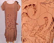 Vintage Beige Silk Soutache Cut Work Lace Drop Waist Shift Dress & Slip