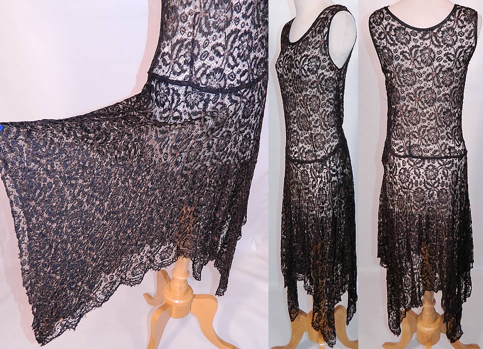 Art Deco Black Gold Lamé Lame Lace Handkerchief Skirt Drop Waist Dress. This fabulous flapper style drop waist dress is sleeveless, with a rounded scoop neckline, an uneven handkerchief hemline full skirt, side snap closures and a is sheer, unlined.
