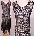 Vintage Art Deco Black Gold Lamé Lame Lace Handkerchief Skirt Drop Waist Dress