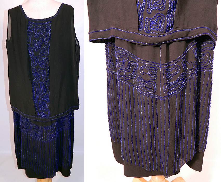 Vintage Art Deco Black Silk Cobalt Blue Beaded Drop Waist Flapper Dress. This amazing Art Deco vintage black silk cobalt blue beaded drop waist flapper dress dates from the 1920s. It is made of a black silk crepe de chine fabric, with bright cobalt blue beading done in Art Deco abstract designs.
