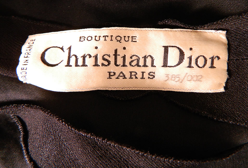 "Vintage Christian Dior Paris Gold Chain Link Belted Black Cocktail Dress. There is a ""Christian Dior Paris Boutique"" numbered 385/002, Made in France designer label sewn inside."