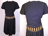 Vintage Christian Dior Paris Gold Chain Link Belted Black Cocktail Dress