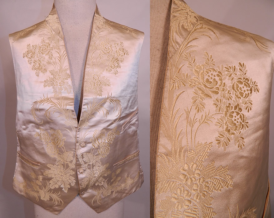 Victorian Gentlemen's White Silk Damask Floral Brocade Wedding Waistcoat Vest. This antique Victorian era gentlemen's white silk damask floral brocade wedding waistcoat vest dates from the 1850s.
