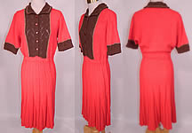 Vintage Coral Orange Gold Brown Hand Knit Crochet Wool Pleated Skirt Dress