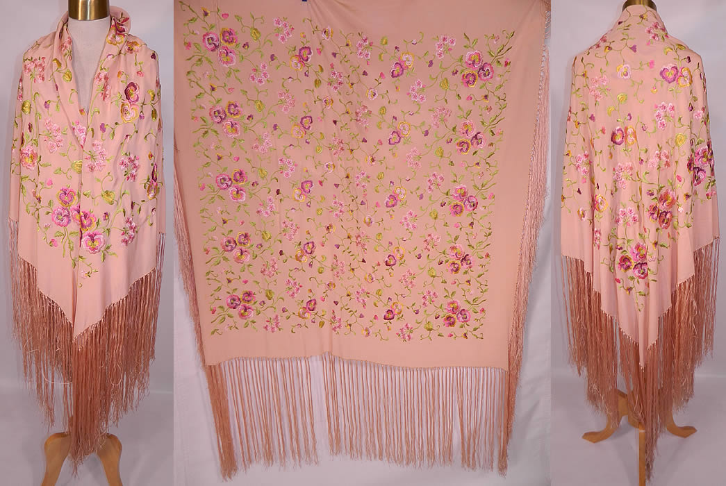Vintage Pastel Pink Silk Floral Pansy Embroidered  Flapper Boho Piano Shawl. This vintage pink pastel silk floral pansy embroidered flapper boho piano shawl dates from the 1920s. It is made of a pale pink color silk fabric, with machine done embroidered colorful pastel pansy flowers.