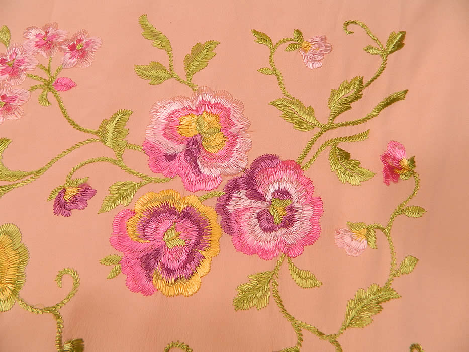 Vintage Pastel Pink Silk Floral Pansy Embroidered  Flapper Boho Piano Shawl.