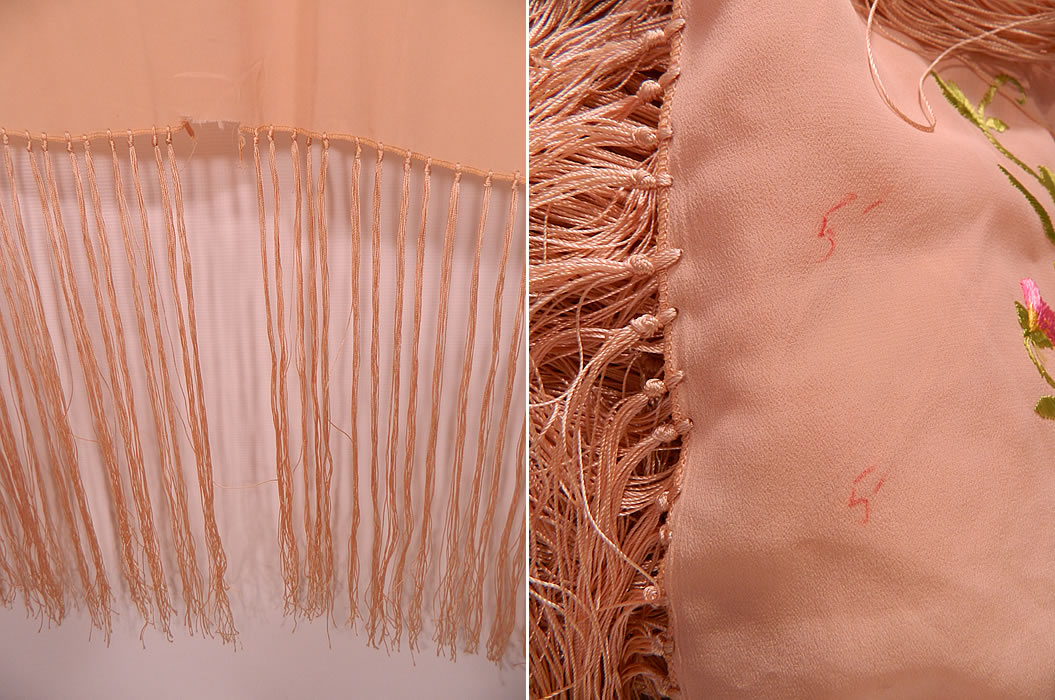 Vintage Pastel Pink Silk Floral Pansy Embroidered  Flapper Boho Piano Shawl. It is in good condition, but does have some fringe missing and red ink marks on the side (see bottom photo close-ups). This beautiful bohemian piano shawl is a wonderful piece of wearable textile art!