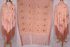 Vintage Pastel Pink Silk Floral Pansy Embroidered  Flapper Boho Piano Shawl