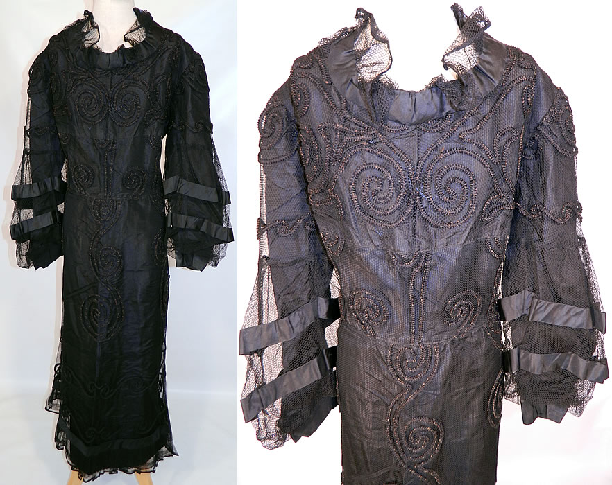 Vintage Black  Soutache Embroidered Net Victorian Inspired Evening Gown Dress. This vintage black soutache embroidered net Victorian inspired evening gown dress dates from the 1930s. It is made of a black sheer net fabric, with black raised soutache embroidery work done in a spiral scrolling design pattern.