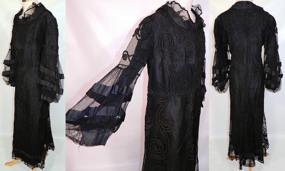 Vintage Black  Soutache Embroidered Net Victorian Inspired Evening Gown Dress. The gown is made of a Victorian era black net soutache embroidered fabric, but remade into a 1930s style with added sleeve trim. This beautiful black dress is a long floor length with a loose fitting style, long full bishop style sleeves trimmed in black silk stripes, a ruffled flounce net collar neckline, fully lined in a black silk taffeta fabric and has no side or back opening closures.