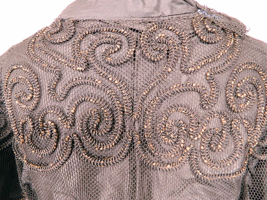 Vintage Black  Soutache Embroidered Net Victorian Inspired Evening Gown Dress. The dress measures 50 inches long, with 44 inch hips, a 36 inch waist, 38 inch bust, 15 inch back and 23 inch long sleeves. It is in good condition. This is truly a wonderful piece of wearable art!