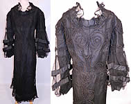 Vintage 1930s Black Soutache Embroidered Net Victorian Inspired Evening Gown Dress