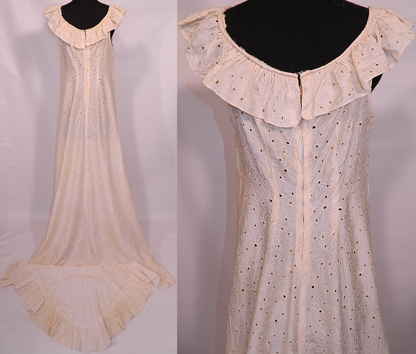 Vintage Eyelet Cream Silk Hawaiian Muumuu Wedding Gown Dress Train Skirt. It is in excellent condition. This is truly a wonderful piece of wearable wedding art!