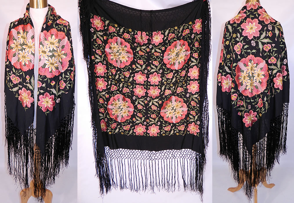 Vintage Black Silk Floral Pastel Embroidered  Flapper Boho Piano Shawl . This vintage black silk floral pastel embroidered flapper boho piano shawl dates from the 1920s. It is made of a black silk fabric, with machine done embroidered colorful pastel flowers, vine leaves and large round floral bouquets.