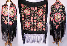 Vintage Black Silk Floral Pastel Embroidered  Flapper Boho Piano Shawl
