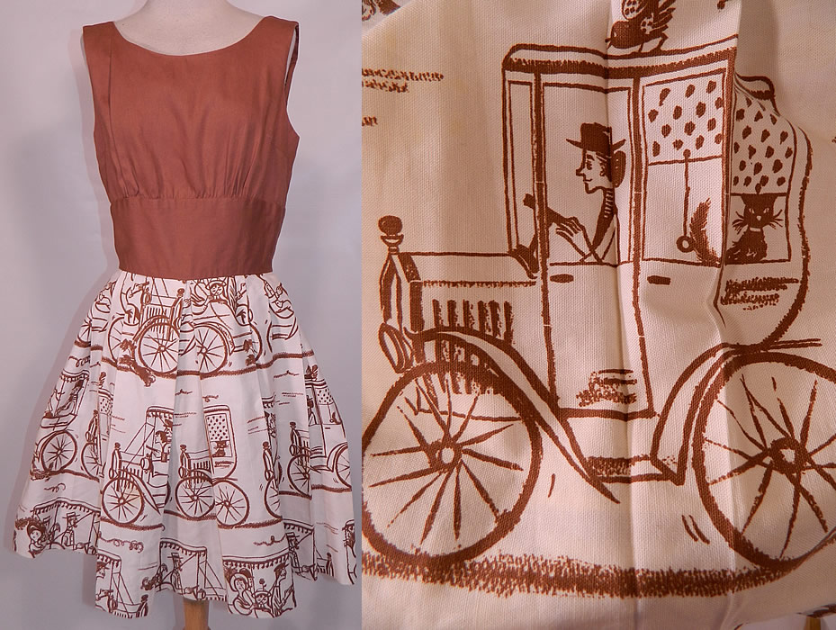 Vintage Joe Barry Model T Car Cat Novelty Print Linen Summer Sun Dress