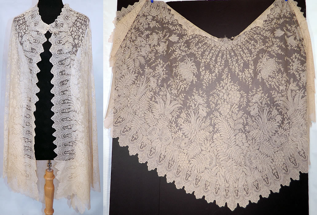 Victorian Civil War Antique Blonde Chantilly Lace Mantilla Shawl Cloak Cape. This rare antique Victorian Civil War era blonde chantilly lace mantilla shawl cloak cape dates from the 1860s.