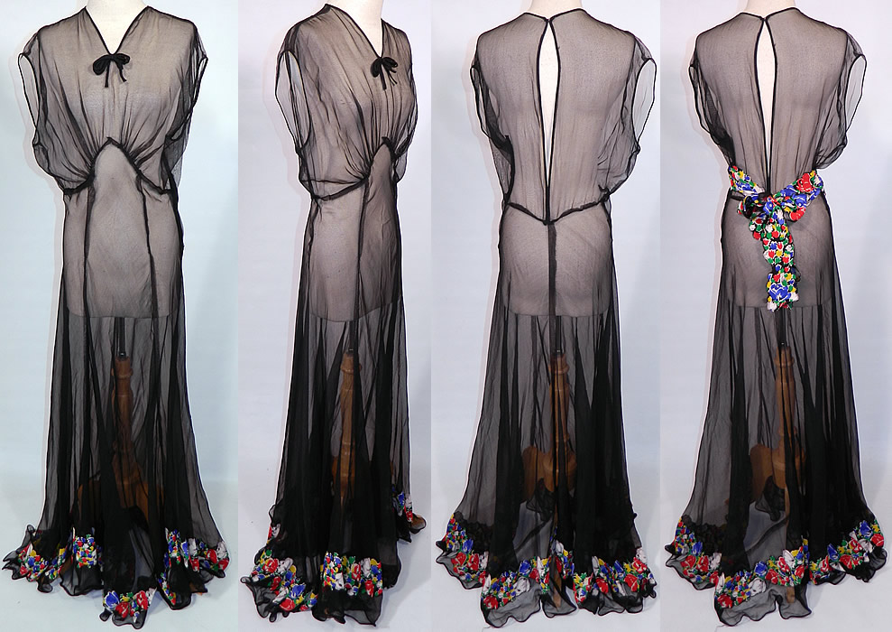 Vintage Sheer Black Chiffon Floral Print Silk Trim Belted Bias Cut Gown Dress. This beautiful bias cut gown long floor length dress is sleeveless, with a bow trim front neckline, large key hole opening back, long full skirt, side zipper closure and is sheer, unlined.
