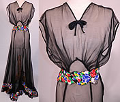 Vintage Sheer Black Chiffon Floral Print Silk Trim Belted Bias Cut Gown Dress
